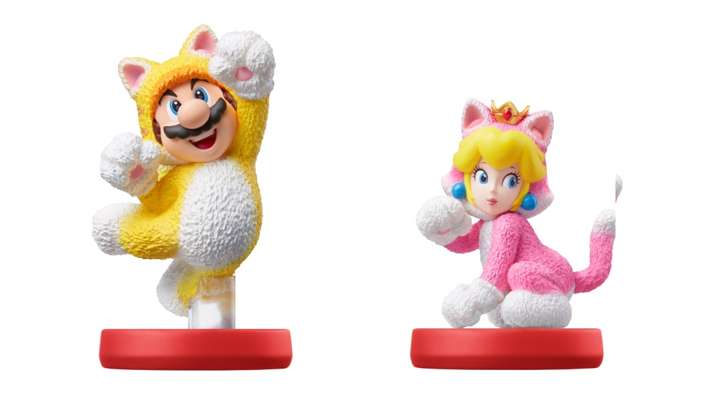Cat Mario and Cat Peach amiibo